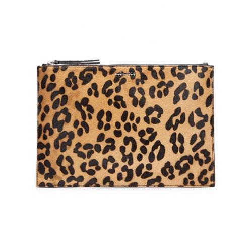 Alexandra McQueen Kicks Leopard-Print Calf Hair Clutch Bag