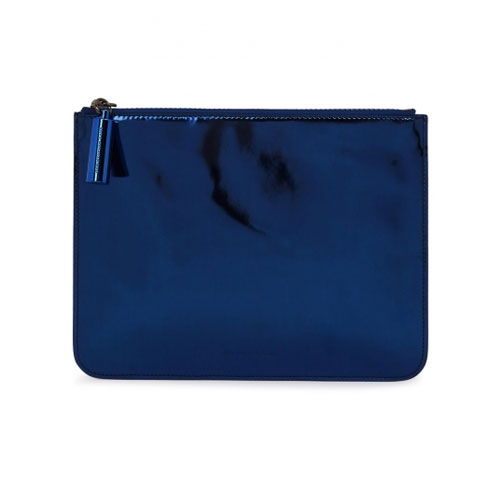 Christopher Kane Metallic Blue Leather Pouch