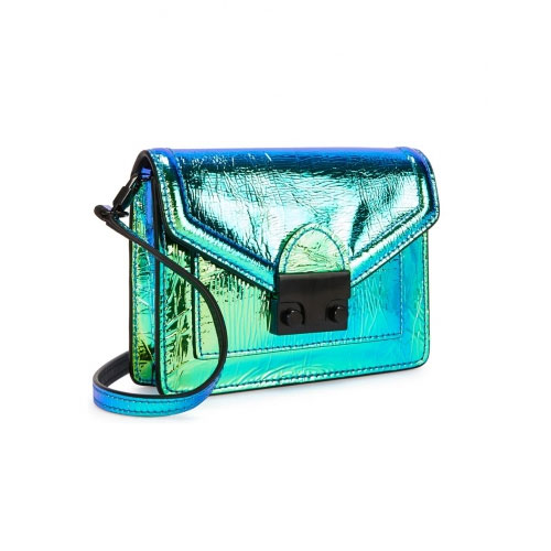 Loeffler Randall Baby Rider Green Iridescent Cross Body Bag