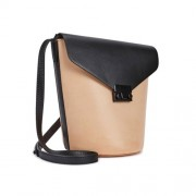 Loeffler Randall Peach And Black Leather Bucket Bag