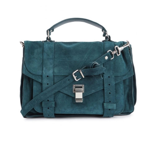 Proenza Schouler PS1 Medium Teal Suede Satchel