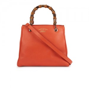 Gucci-Bamboo-Mini-Orange-Leather-Tote-Front