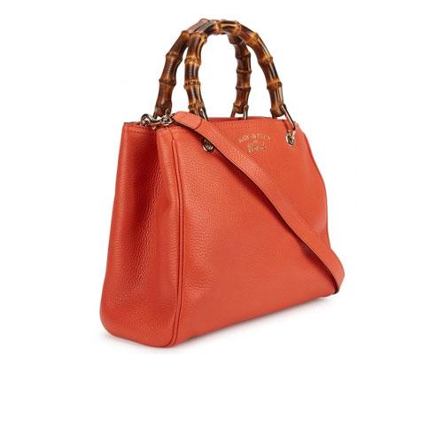 Gucci Bamboo Mini Orange Leather Tote