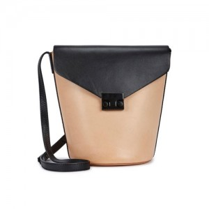 Loeffler-Randall-Peach-And-Black-Leather-Bucket-Bag-Front