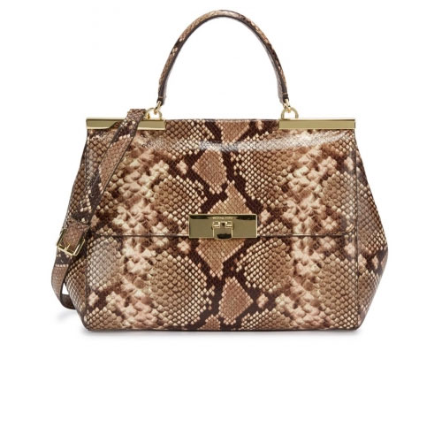 Michael Kors Marlow Python Effect Leather Shoulder Bag
