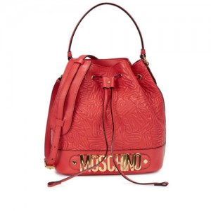Moschino-Red-Logo-Leather-Bucket-Bag-Front